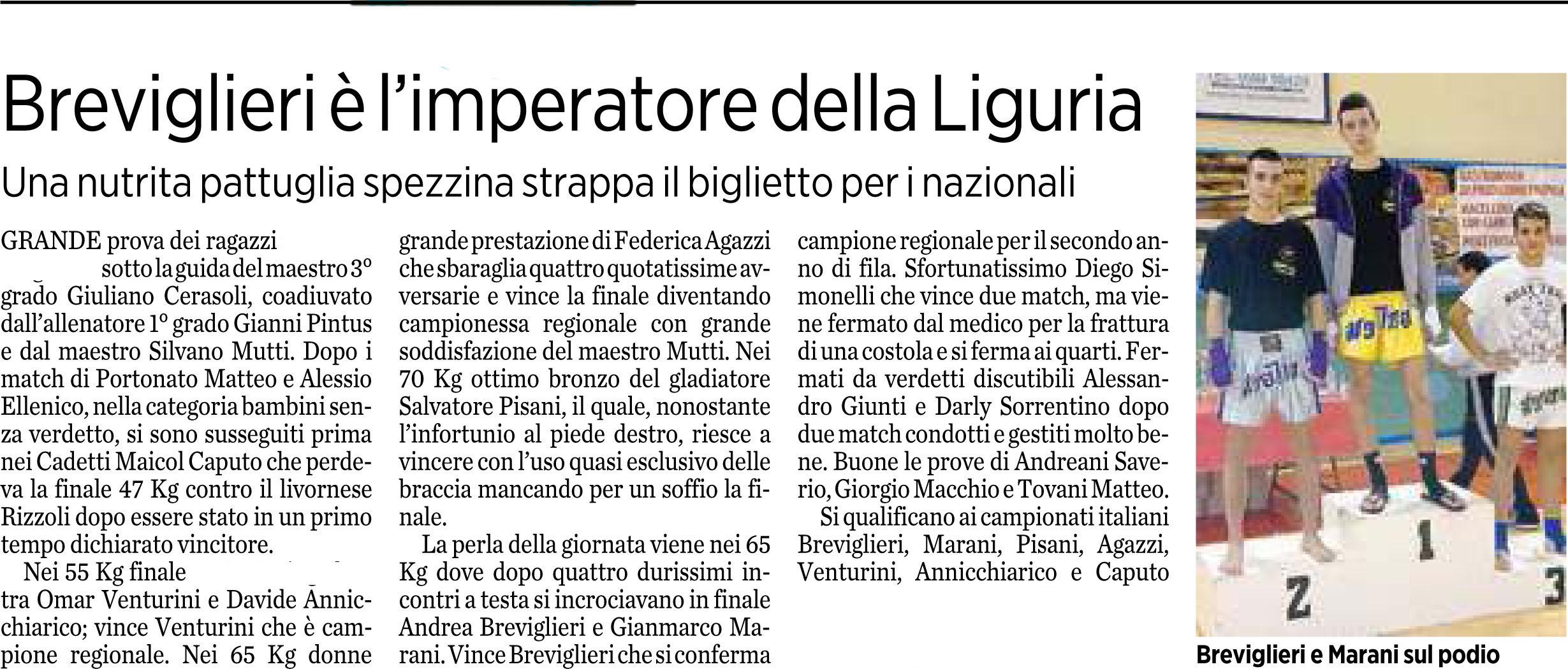 Breviglieri è l'imperatore della Liguria