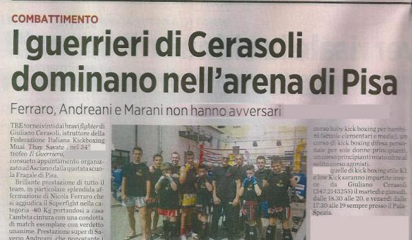 I guerrieri di Cerasoli dominano nell'arena di Pisa